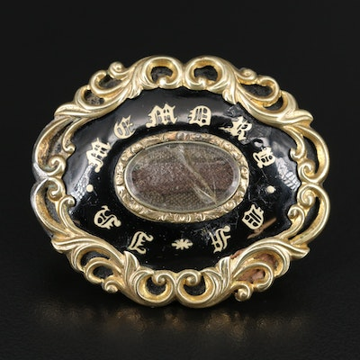 Early Victorian Mourning Converter Brooch with Hair Chamber