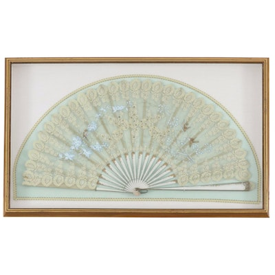 Hand-Painted Framed Lace Hand Fan, Late 20th Century