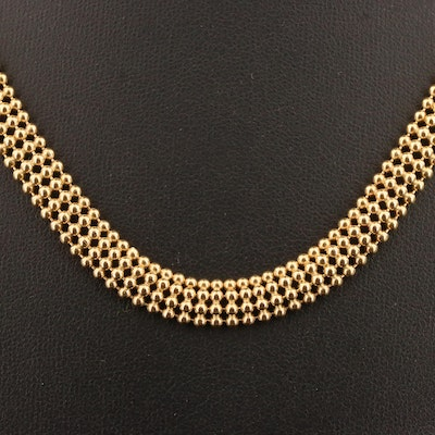 14K Beaded Mesh Necklace with Sapphire Accents