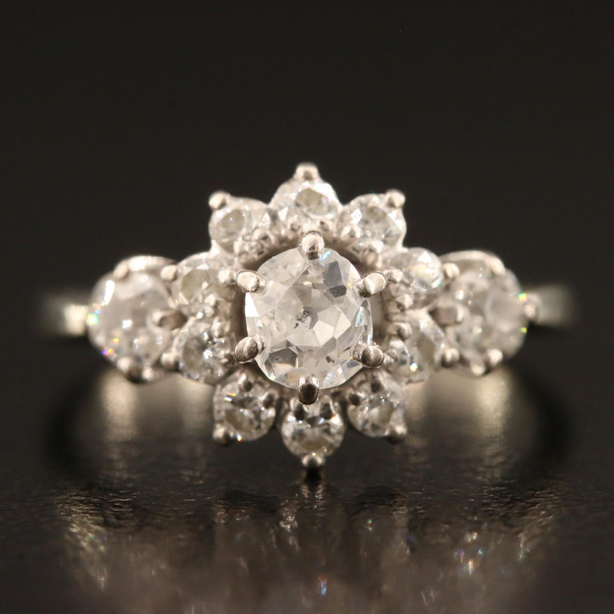 Vintage 18K 1.00 CTW Diamond Halo Ring