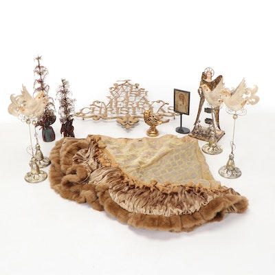 Christmas and Winter Décor Including Candle Holders, Figurines, and Wall Decor