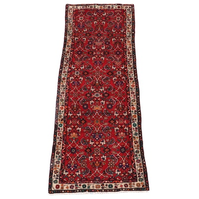 3'6 x 9'10 Hand-Knotted Persian Hamadan Wool Long Rug