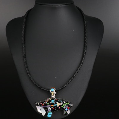 Stello Smiley Navajo Diné Spirit Bear Pendant Necklace