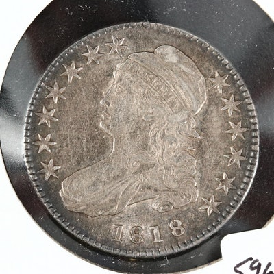 1818 Capped Bust Silver Half Dollar, Pincer Top 8's