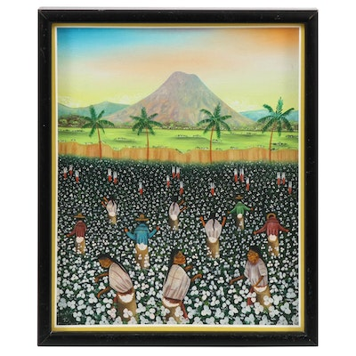 Guatemalan Folk Art Oil Painting of Cotton Pickers