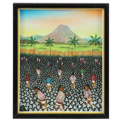 Guatemalan Folk Art Oil Painting of Cotton Pickers