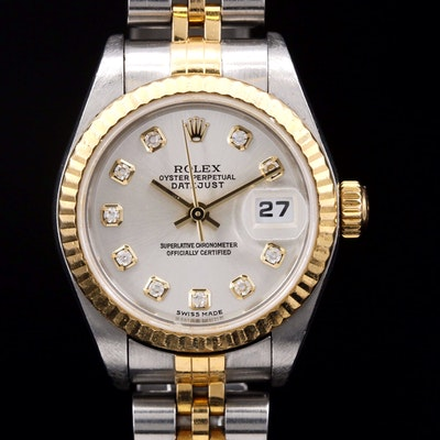 Rolex Datejust 18K and Stainless Steel Wristwatch with Factory Diamond Dial