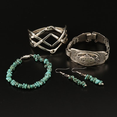 Assorted Bracelets with Turquoise Bracelet and Earring Set