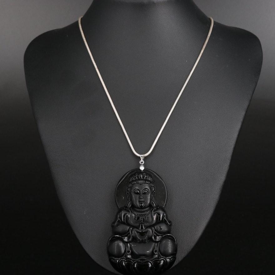 Black Glass Buddha Pendant on Sterling Silver Snake Chain