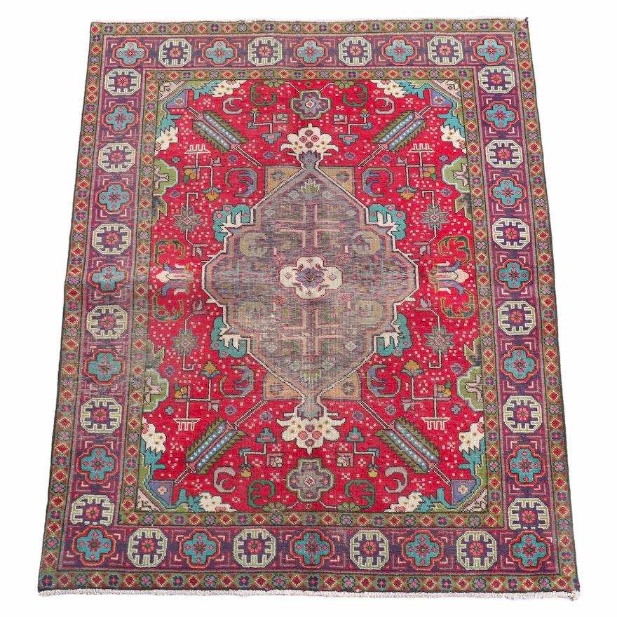 4'8 x 6'3 Hand-Knotted Anatolian Konya Wool rug