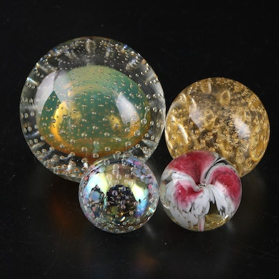 Mark Matthews Controlled Bubble and Glass Eye Studio Paperweights