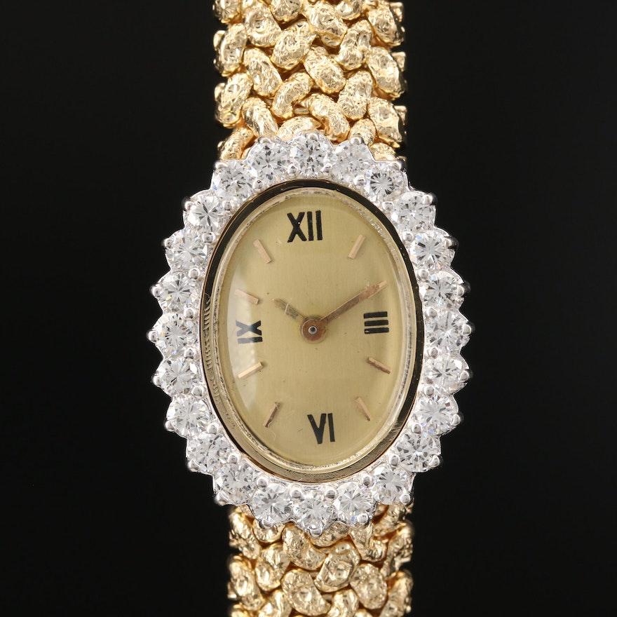 Vintage Elgin Diamond and 14K Gold Stem Wind Wristwatch