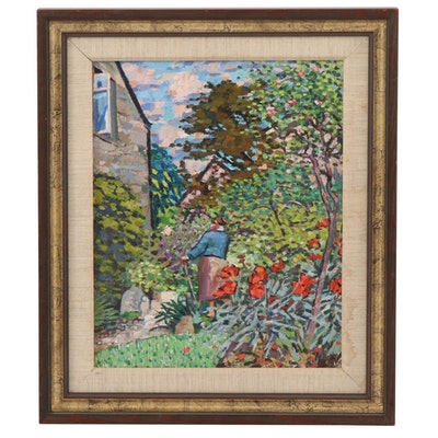 "Expressionist Style Oil Painting ""In the Garden"""