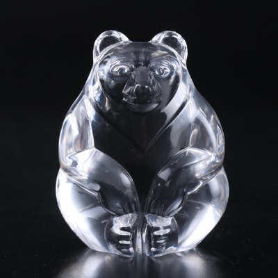 "Steuben Art Glass ""Bear"" Hand Cooler Designed by Lloyd Atkins"