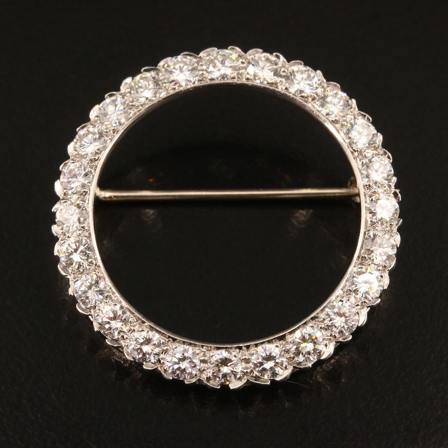 Vintage Platinum 2.50 CTW Diamond Circle Brooch