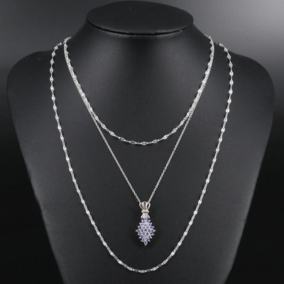 Sterling Silver Tanzanite Pendant Necklace with Fancy Link Chains