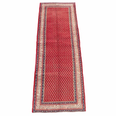 3'6 x 10'9 Hand-Knotted Persian Mir Serabend Wool Long Rug