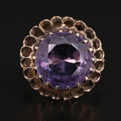 Vintage 14K Color Change Sapphire Ring with Scalloped Trim