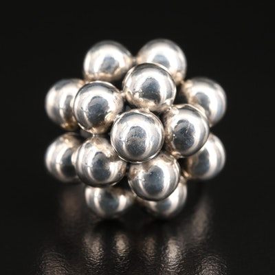 Mexican Sterling Tiered Beaded Ring