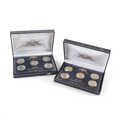 24 K Gold Plated and Uncirculated Commemorative State Quarters, 2004 and 2005