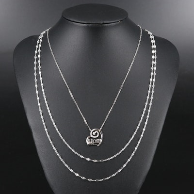 "Sterling Silver Cubic Zirconia ""Mom"" Pendant Necklace with Fancy Link Chains"