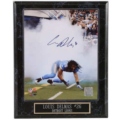 Detroit Lions Louis Delmas Autographed Photo with Plaque