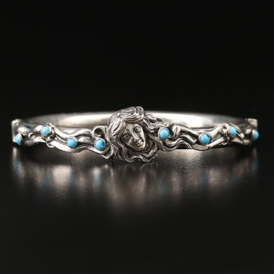 Art Nouveau Style Sterling Faux Turquoise Double Hinged Oval Bangle
