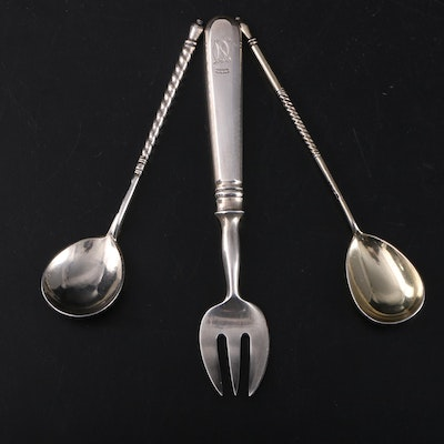Russian Niello 875 Silver Twist-Handle Spoons and Serving Fork, Late 19th C