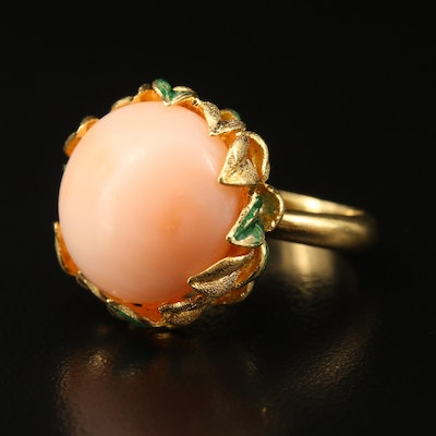 18K Coral and Enamel Foliate Ring
