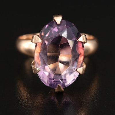 10K Amethyst Solitaire Ring