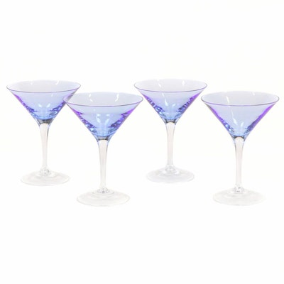 "Block ""Carousel Blue"" Crystal Martini Glasses, 1999–2000"
