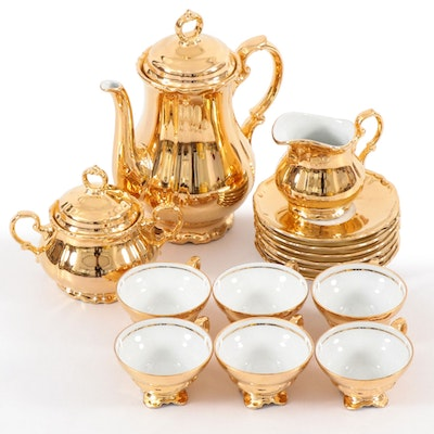 Rudolf Wächter of Bavaria Gilt Porcelain Tea Service, Early to Mid 20th Century
