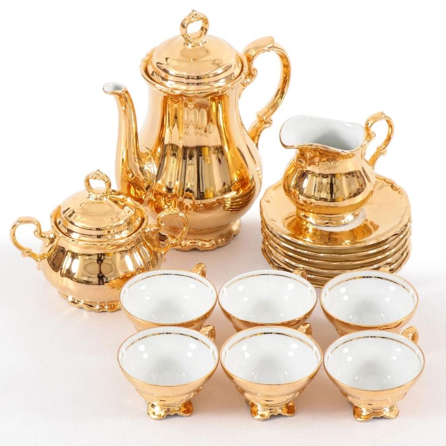 Rudolf Wächter of Bavaria Gilt Porcelain Tea Service, Early to Mid 20th Century