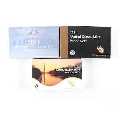 2010, 2011 and 2016 U.S. Mint Proof Sets