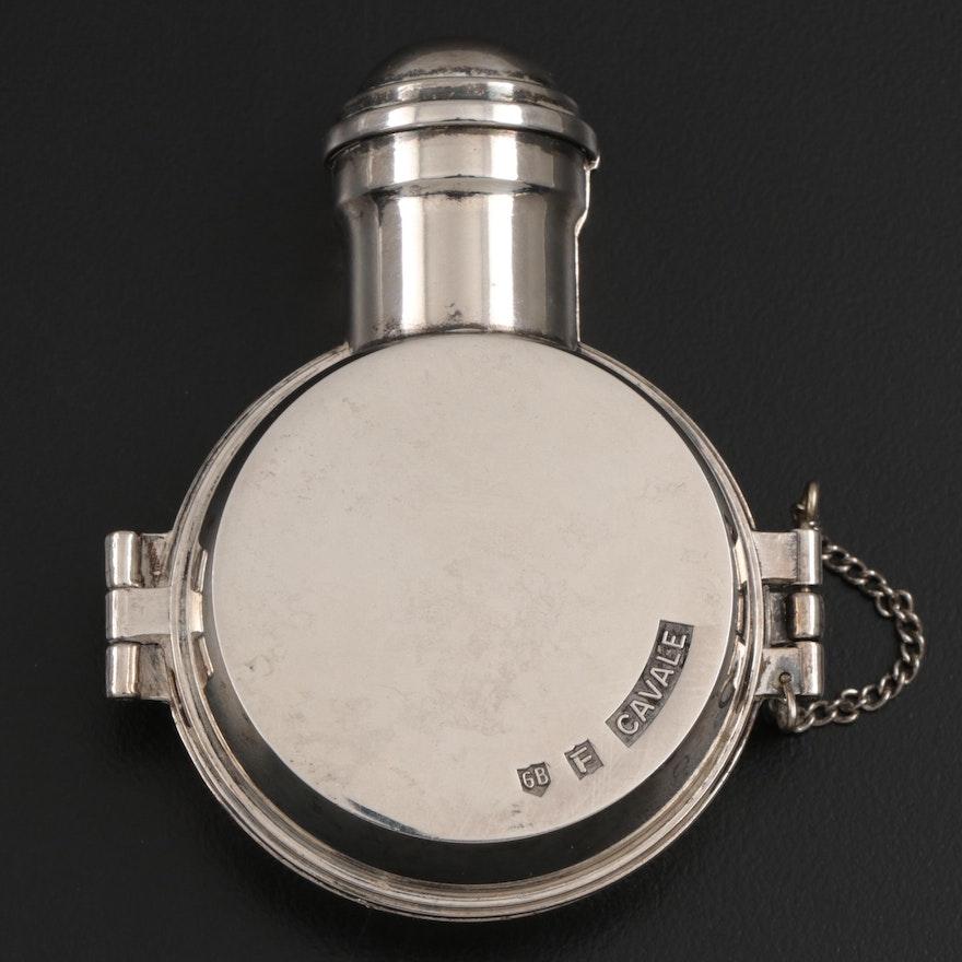 "Fabergé Perfume Silver Plate ""Cavale"" Perfume Bottle Travel Case, 1979"