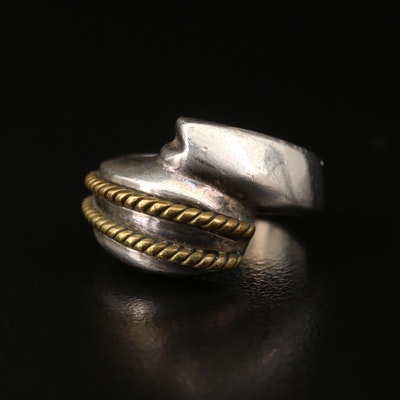 Mexican Sterling Silver Bypass Ring with Rope Accents