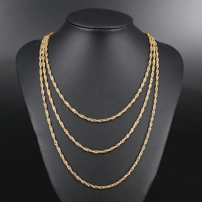 Sterling Singapore Style Chain Necklaces