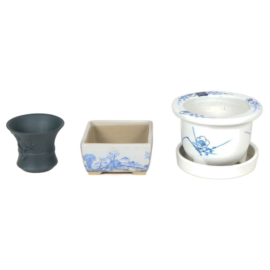 Asian Blue and White Hand-Painted Bonsai Pots with Matte Glazed Moriage Pot