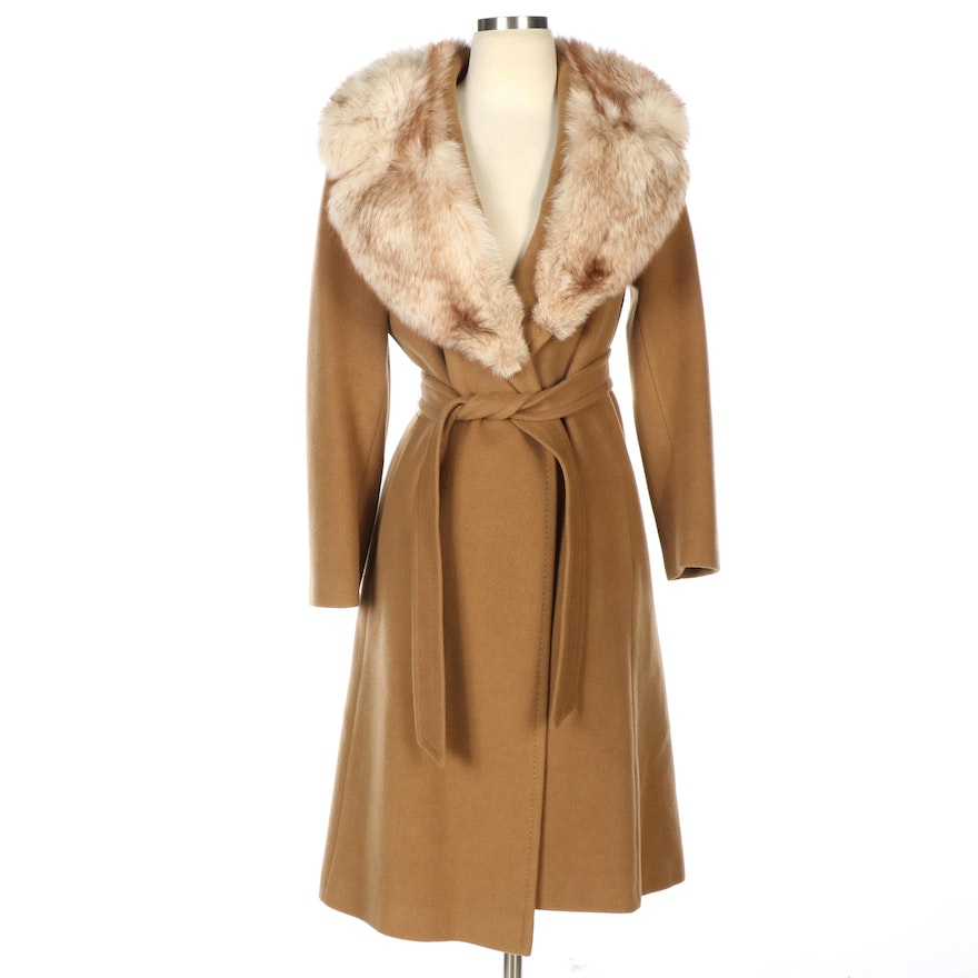 Cashmere Belted Coat in Camel with Fox Fur Collar