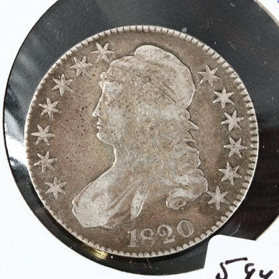Low Mintage 1820 Capped Bust Silver Half Dollar, Lettered Edge