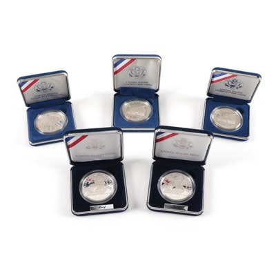 Five Modern Commemorative Silver Dollars