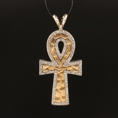 10K Diamond Ankh Pendant with Pebbled Textured