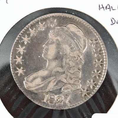 1827 Capped Bust Silver Half Dollar, Lettered Edge