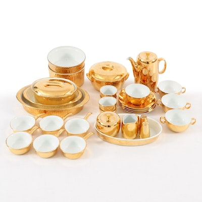 "Royal Worcester ""Lustre Gold"" Bakeware with Other Tea Service and Tableware"