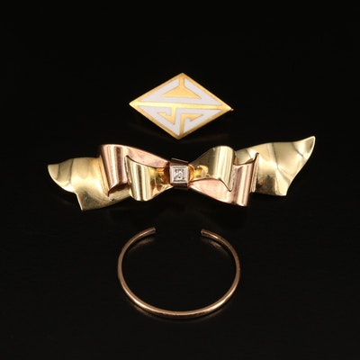 "Tiffany 14K Enamel ""SC"" Pin, Vintage Krementz Diamond Bow Pin and More"