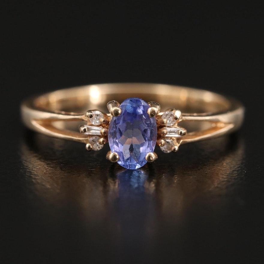 10K Tanzanite and Diamond  Ring