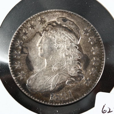 1831 Capped Bust Silver Half Dollar, Lettered Edge