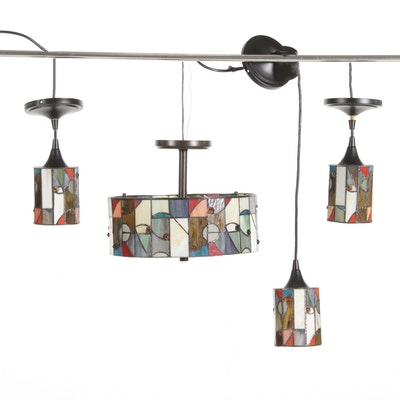 Cubist Style Stained Glass Pendant Lights, 21st Century