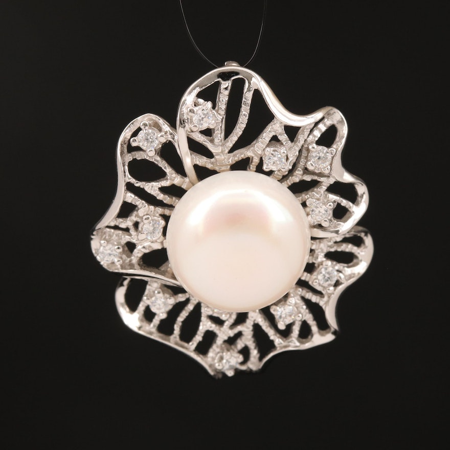 Sterling Pearl and Cubic Zirconia Openwork Pendant