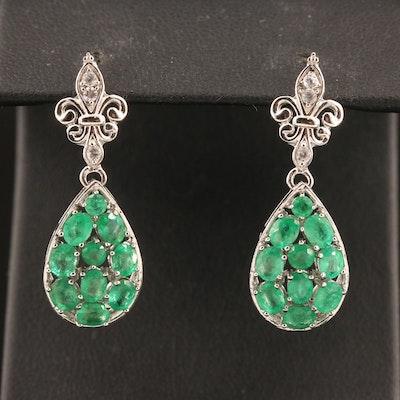 Sterling Silver Emerald and White Zircon Fleur de Lis Drop Cluster Earrings
